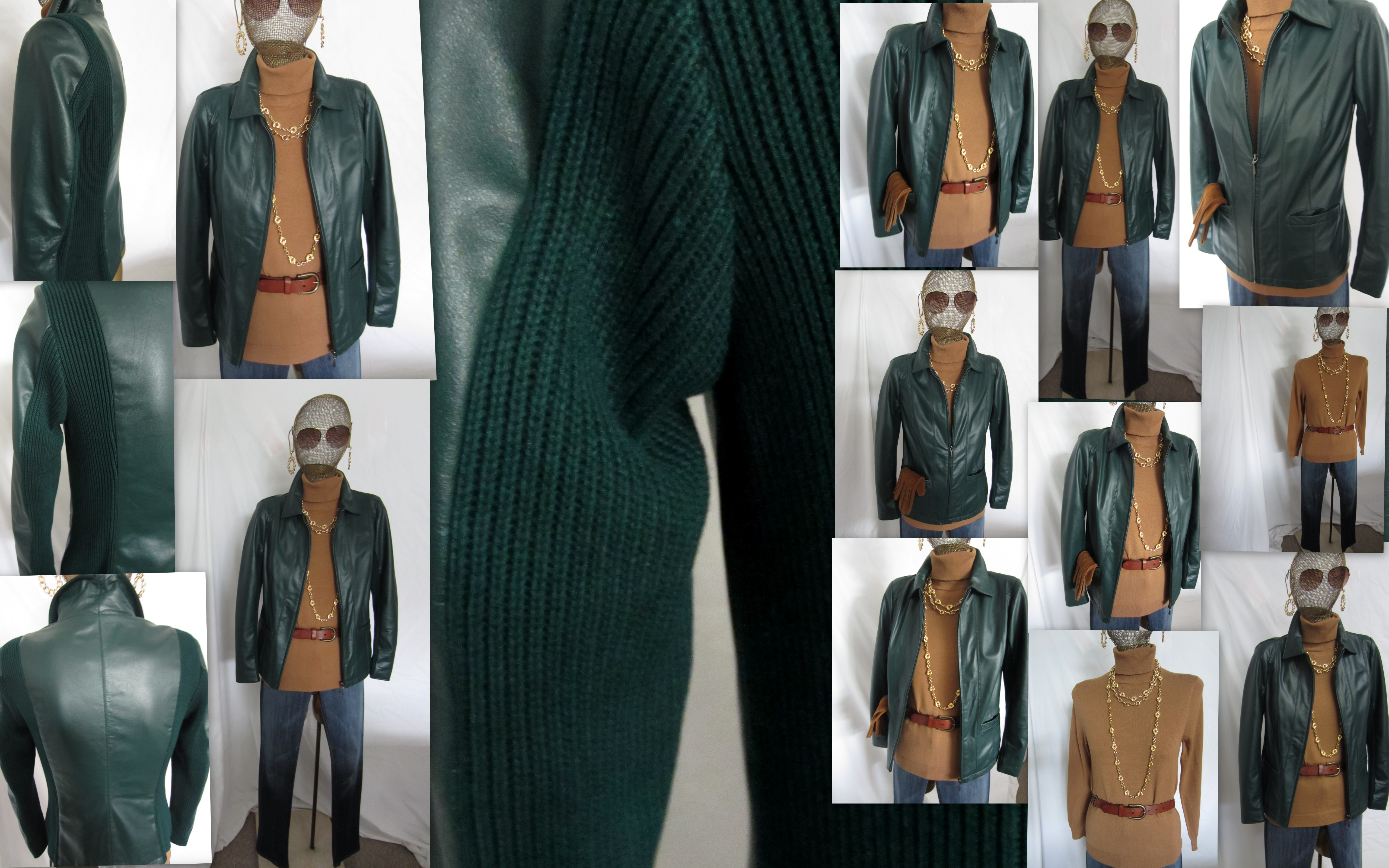 The Forest Green Zip Front Leather Jacket Louis Dell Olio